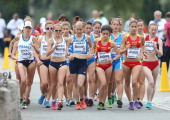 Competitors get under way in the Women's 20km Walk Race during The European Athletics U23 Championships 2013 in The Market Square in Tampere on July...
