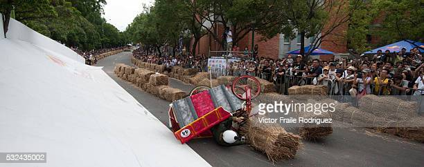 Competitors in action during the Red Bull Soapbox Taiwan on 29 September 2013 in Taipei Taiwan Each team of four builds a car in the shape and...