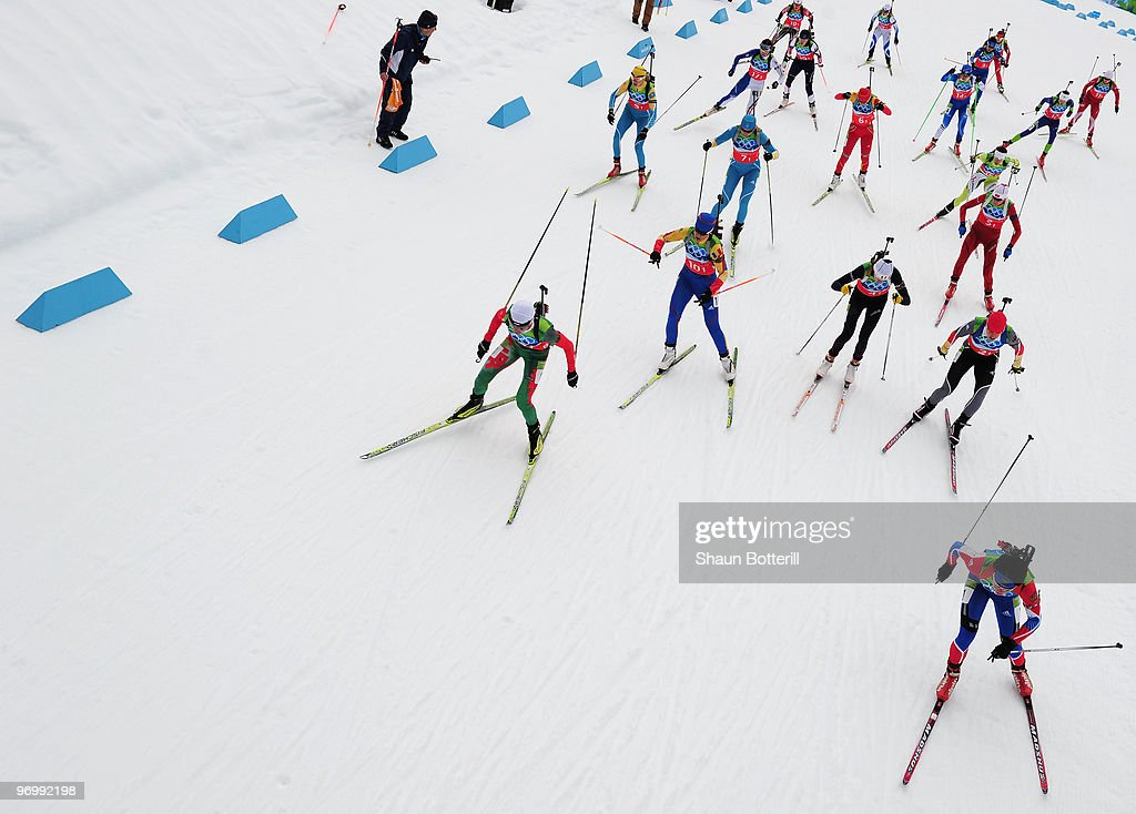 Competitors in action during the women's biathlon 4 x 6km relay on day 12 of the 2010 Vancouver Winter Olympics at Whistler Olympic Park Cross-Country Stadium on February 23, 2010 in Whistler, Canada.
