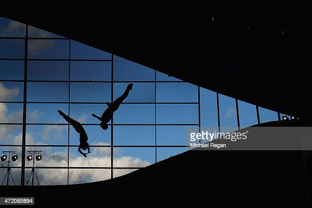Competitors in action in the parctise session during day 3 of the FINA/NVC Diving World Series at Aquatics Centre on May 3 2015 in London England