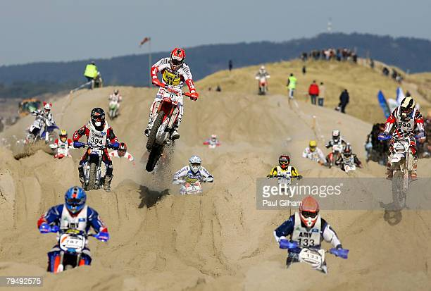 Competitors in action on the 155 kilometre circuit during the Enduropale race featuring 1000 motorbikes in The 3rd Enduropale du Touquet 2008 at Le...