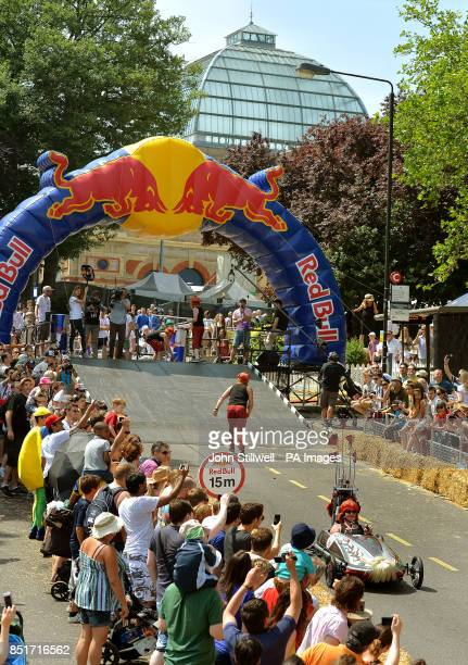 Competitors in one of 70 gravity powered vehicles take part in The Red Bull Soapbox Race at Londons Alexandra Palace
