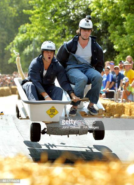 Competitors in one of 70 gravity powered vehicles take part in The Red Bull Soapbox Race at LondonOtildes Alexandra Palace