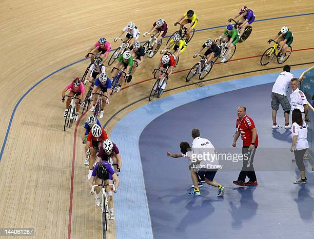 Competitors in the boy's point race turn the bend during the Sainsbury's 2012 UK School Games at the Velodrome on May 9 2012 in London England