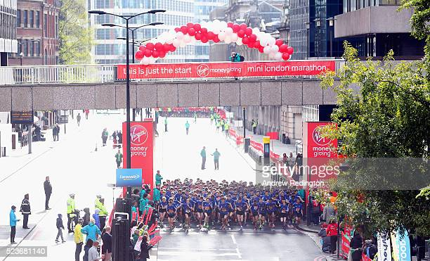 Competitors in the Boys Under 15s are pictured at the start of The Virgin Money Giving Mini London Marathon on April 24 2016 in London England