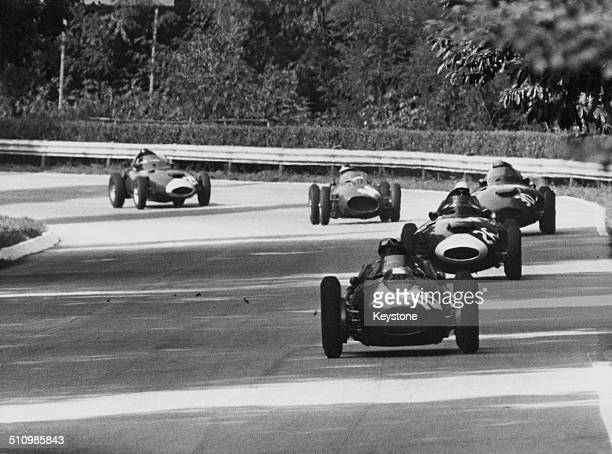 Competitors in the Italian Grand Prix at the Autodromo Nazionale Monza race track near Milan 7th September 1958 In front is Phil Hill in a Ferrari...