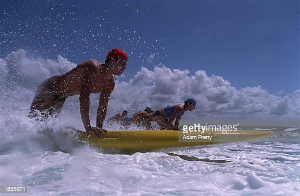 Competitors in the Mens Board race in action during the 2003 NSW Surf Life Saving Championships at Swansea Belmont Australia on March 8 2003