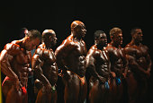Competitors in the Men's Bodybuilding division are seen on stage during the Arnold Classic Australia at The Melbourne Convention and Exhibition...