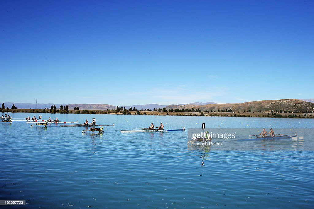 Competitors in the Men's Novice 2X start their heat during the New Zealand Rowing Championships at Lake Ruataniwha on February 19, 2013 in Twizel, New Zealand.