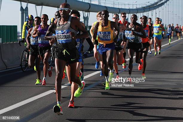 Competitors in the Professional Men's division cross the VerrazanoNarrows Bridge at the start of the 2016 2016 TCS New York City Marathon on November...