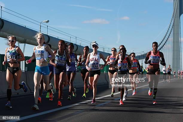 Competitors in the Professional Women's division cross the VerrazanoNarrows Bridge at the start of the 2016 TCS New York City Marathon on November 6...
