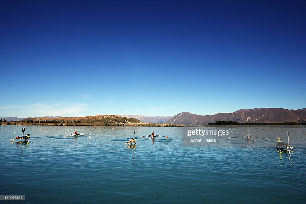 Competitors in the Women's U20 single sculls start their heat during the New Zealand Rowing Championships at Lake Ruataniwha on February 19, 2013 in Twizel, New Zealand.