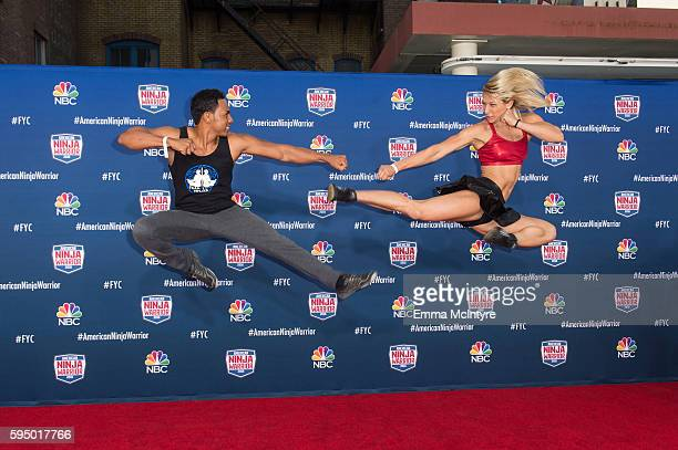 Competitors Jessie Graff and Christopher Workman attend the screening event of NBC's 'American Ninja Warrior' in celebration of the show's first Emmy...