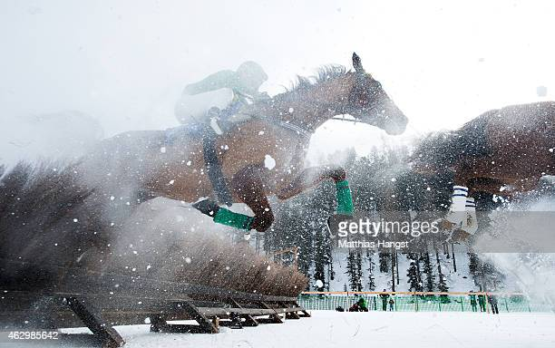 Competitors jump over a barrier during the Hurdles Prix Arosa Race of the White Turf St Moritz on February 8 2015 in St Moritz Switzerland
