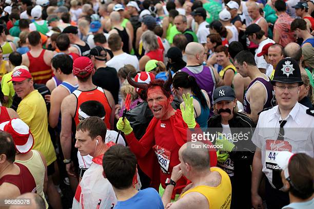Competitors line up ahead of the start of the 2010 Virgin London Marathon on April 25 2010 in London England