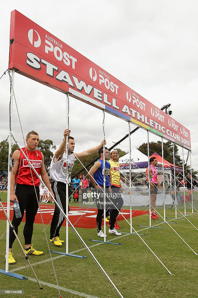 Competitors line up for the start of the Australia Post Stawell Gift 120m Final during the 2013 Stawell Gift carnival at Central Park on April 1, 2013 in Stawell, Australia.