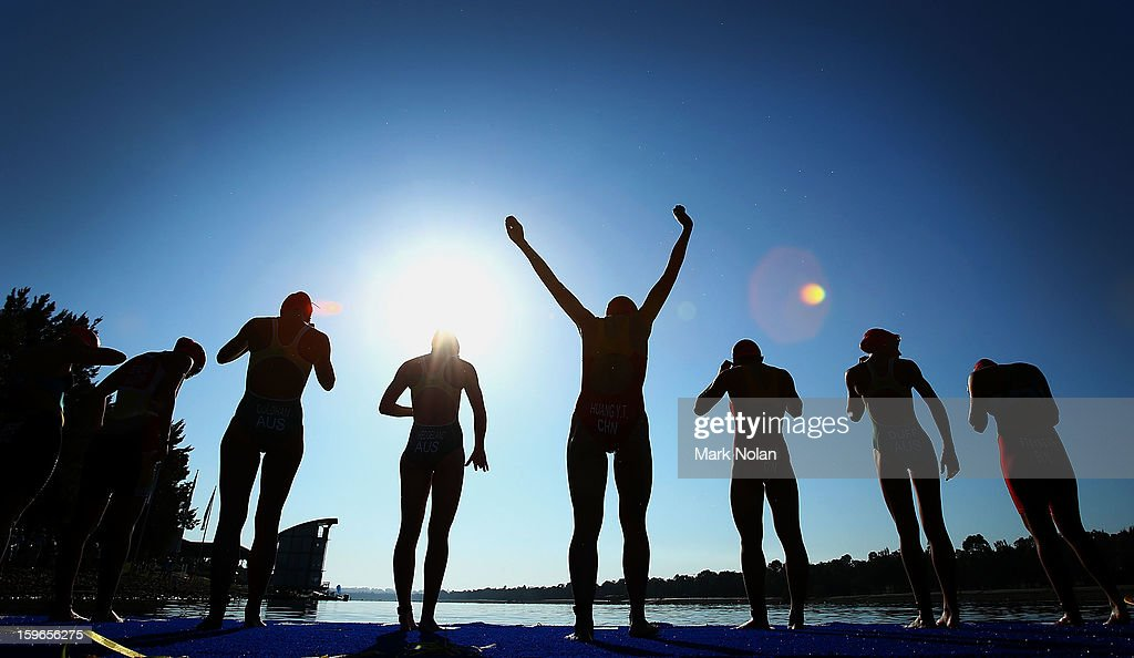 Competitors line up for the start of the swim leg in the Womens Triathlon during day three of the 2013 Australian Youth Olympic Festival at the Sydney International Regatta Centre on January 18, 2013 in Sydney, Australia.