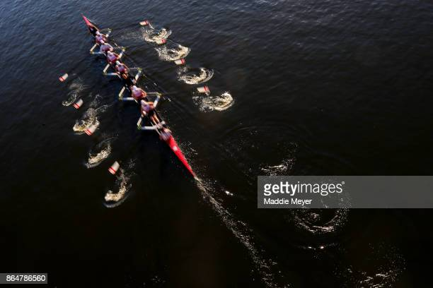 Competitors make their way to the starting line during the Head of the Charles Regatta on October 21 2017 in Boston Massachusetts