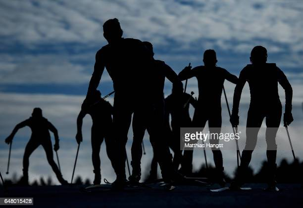 Competitors make their way up a hill in the Women's Cross Country Mass Start during the FIS Nordic World Ski Championships on March 4 2017 in Lahti...