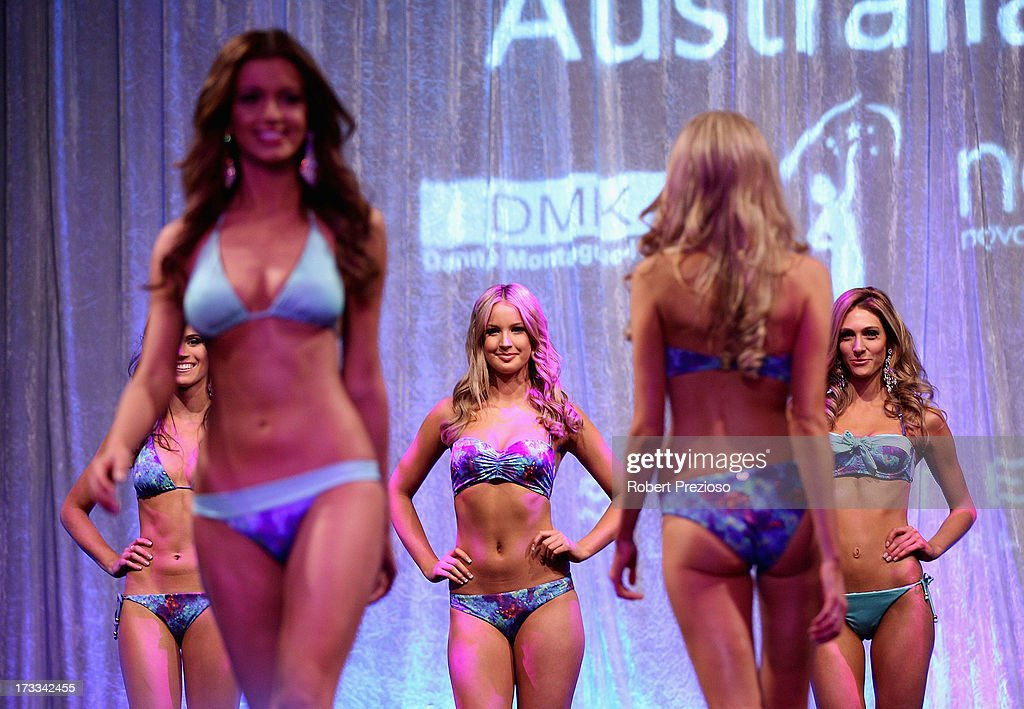 Competitors model swimwear at the 2013 Miss Universe Australia Pageant on July 12, 2013 in Melbourne, Australia.