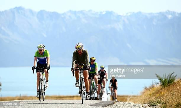 Competitors on the bike leg during the Challenge Wanaka on January 18 2014 in Wanaka New Zealand