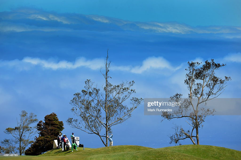 Competitors on the picturesque 18th tee during the Madeira Islands Open - Portugal - BPI at Club de Golf do Santo da Serra on May 10, 2014 in Funchal, Madeira, Port gal.