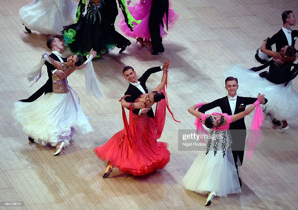 Competitors perform during the British Amateur Championships at the Winter Gardens on May 27, 2014 in Blackpool, England. Couples from all over the world gather in Blackpool for the Latin professional British open championships which forms part ofthe Blackpool Dance Festival that began in 1920 at the Winter Gardens ballroom. The festival covers a 9 day period with professional and amateur couples competing in Ballroom and Latin competitions.