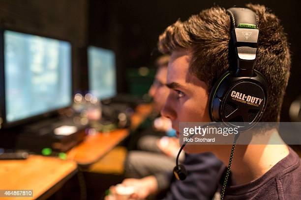 Competitors practice ahead of qualifying matches at the 2015 Call of Duty European Championships at The Royal Opera House on March 1 2015 in London...