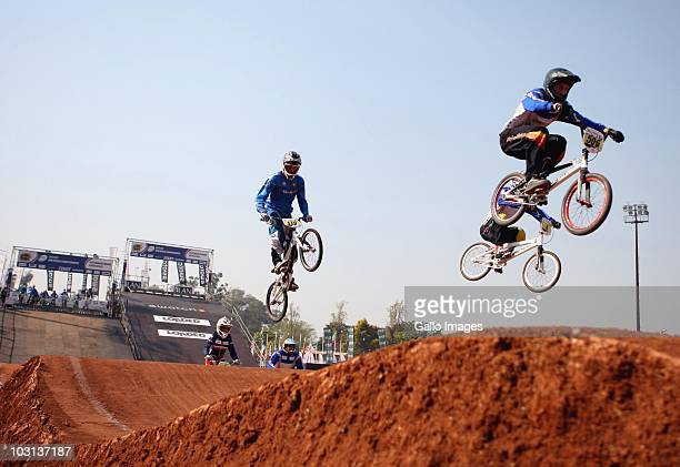 Competitors practice during the 2010 UCI BMX World Championships day on July 28 2010 in Pietermaritzburg South Africa