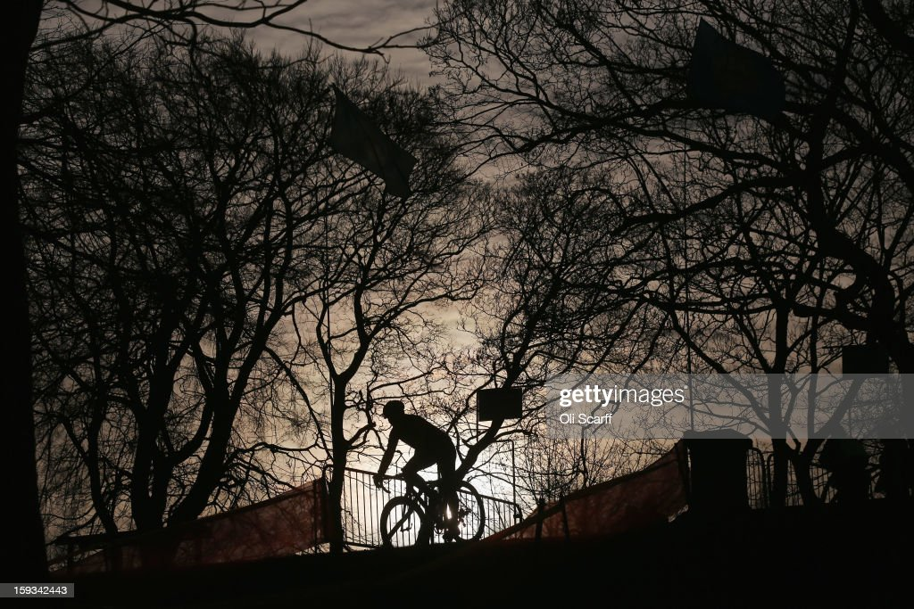 Competitors practice the course before the 'Veteran Men 50+' category race at the 2013 National Cyclo-Cross Championships in Peel Park on January 12, 2013 in Bradford, England. The sport of cyclo-cross, featuring lightweight bikes with off-road tyres, has dramatically increased in popularity over the past few years. Cyclo-cross courses are often run over a mixture of terrains from tarmac to mud and frequently include obstacles or steep inclines where riders have to carry their bike.