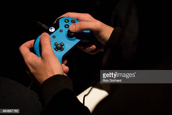 A competitors practices ahead of qualifying matches at the 2015 Call of Duty European Championships at The Royal Opera House on March 1 2015 in...