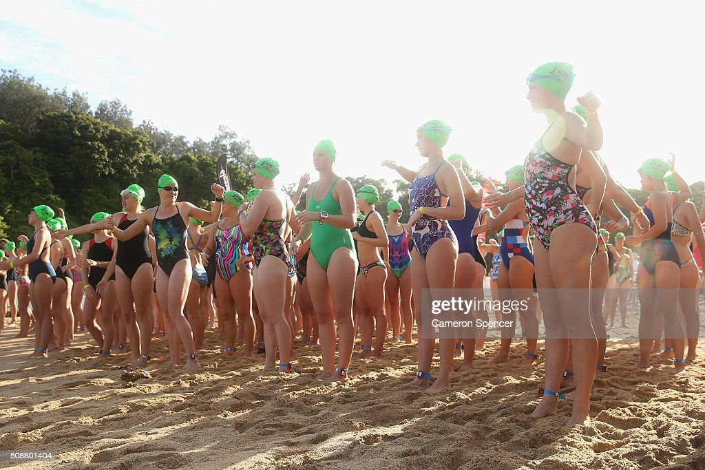 Competitors prepare for racing to start in the Cole Classic Ocean Swim from Shelly Beach to Manly Beach on February 7, 2016 in Sydney, Australia.
