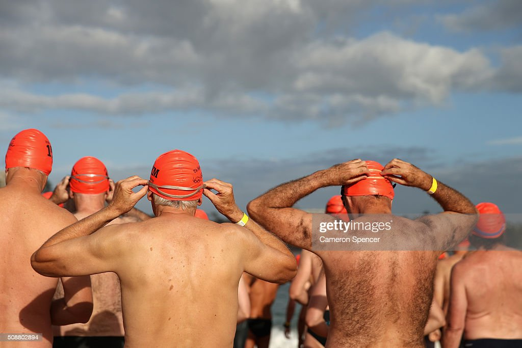 Competitors prepare for the race to start in the Cole Classic Ocean Swim from Shelly Beach to Manly Beach on February 7, 2016 in Sydney, Australia.