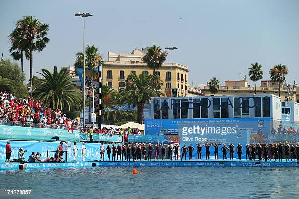 Competitors prepare to start the Open Water Swimming Women's 10k race on day four of the 15th FINA World Championships at Moll de la Fusta on July 23...