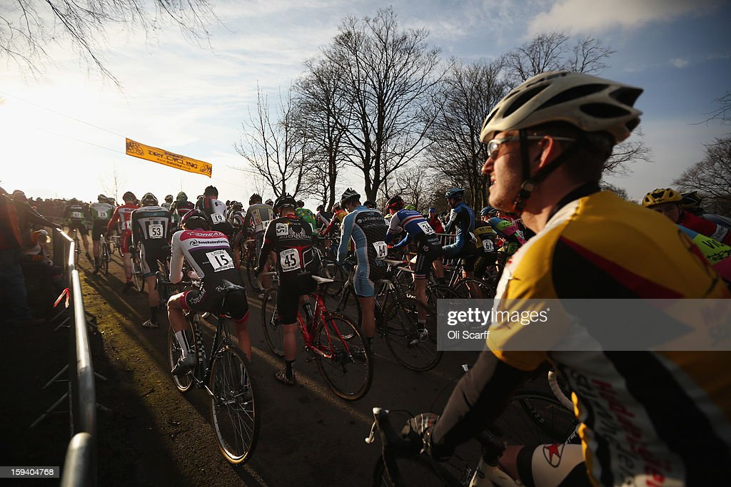 Competitors prepare to start the Senior Men's race at the 2013 National Cyclo-Cross Championships in Peel Park on January 13, 2013 in Bradford, England. The sport of cyclo-cross, featuring ,lightweight bikes with off-road tyres, has dramatically increased in popularity over the past few years. Cyclo-cross courses are often run over a mixture of terrains from tarmac to mud and frequently include obstacles or steep inclines where riders have to carry their bike.