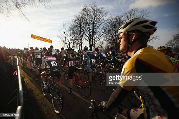 Competitors prepare to start the Senior Men's race at the 2013 National CycloCross Championships in Peel Park on January 13 2013 in Bradford England...