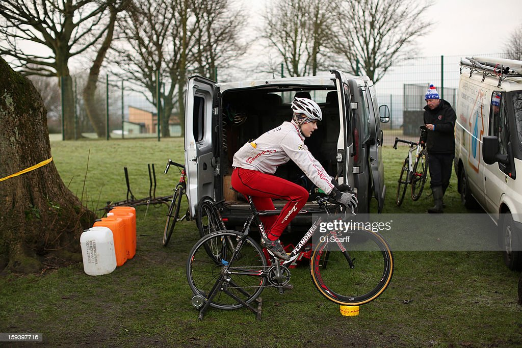 Competitors prepare to take part in the 'Mens Under 23' category race at the 2013 National Cyclo-Cross Championships in Peel Park on January 13, 2013 in Bradford, England. The sport of cyclo-cross, featuring ,lightweight bikes with off-road tyres, has dramatically increased in popularity over the past few years. Cyclo-cross courses are often run over a mixture of terrains from tarmac to mud and frequently include obstacles or steep inclines where riders have to carry their bike.