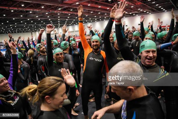 Competitors prepare to take part in the swim stage during the AJ Bell London Triathlon 2017 at Royal Victoria Docks on July 22 2017 in London England...