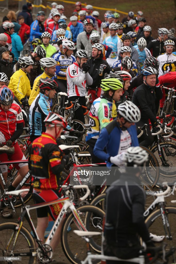 Competitors prepare to take to the start line in the 'Veteran 40-49 Men' category race at the 2013 National Cyclo-Cross Championships in Peel Park on January 12, 2013 in Bradford, England. The sport of cyclo-cross, featuring lightweight bikes with off-road tyres, has dramatically increased in popularity over the past few years. Cyclo-cross courses are often run over a mixture of terrains from tarmac to mud and frequently include obstacles or steep inclines where riders have to carry their bike.
