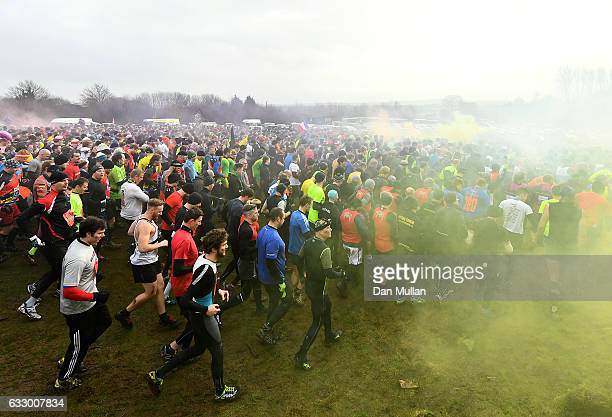 Competitors race away from the start during the Tough Guy Challenge at South Perton Farm on January 29 2017 in Telford England