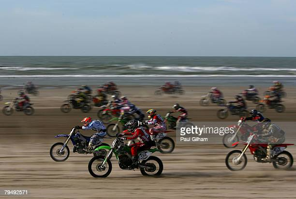 Competitors race away from the start on the 155 kilometre circuit during the Enduropale race featuring 1000 motorbikes in The 3rd Enduropale du...