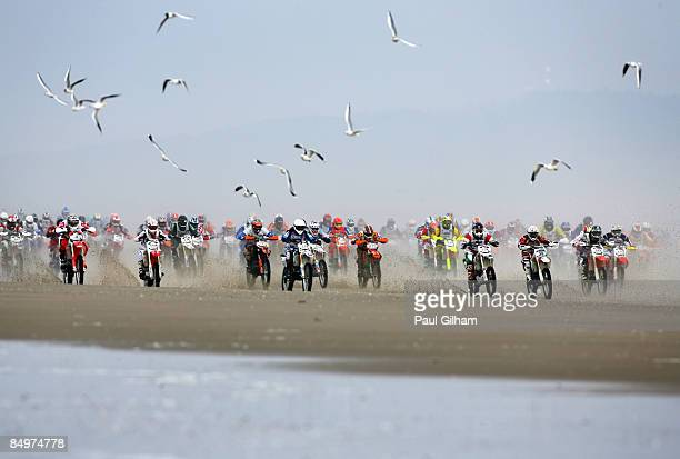 Competitors race away from the start on the 173 kilometre circuit during the Enduropale race featuring over 1000 motorbikes in the 4th Enduropale du...