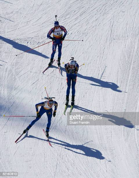 Competitors race during the Mens 20 Km individual race at The EOn Ruhgas IBU Biathlon World Cup on Feburary 9 2005 in Cesana San Sicario Italy