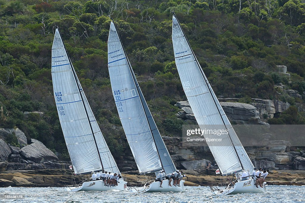 Competitors race during the Sydney Regatta on Sydney Harbour, on March 10, 2013 in Sydney, Australia.