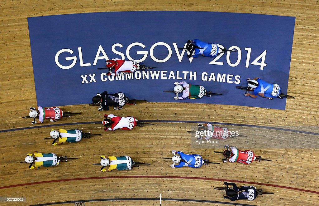 Competitors race during the Women's 10km Scratch Race at Sir Chris Hoy Velodrome during day three of the Glasgow 2014 Commonwealth Games on July 26, 2014 in Glasgow, United Kingdom.