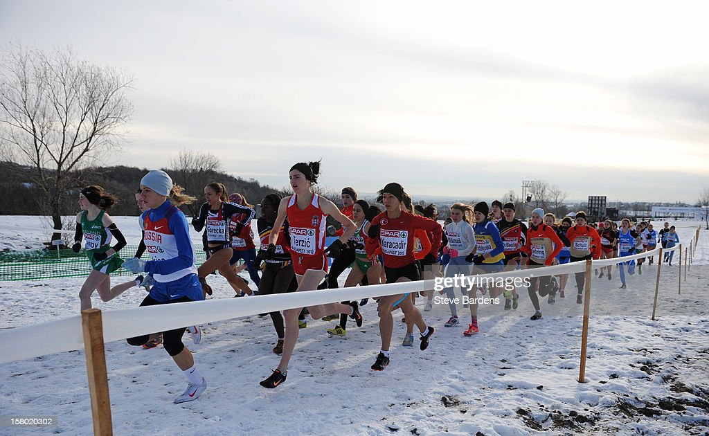 Competitors race in the Junior Women's race during the 19th SPAR European Cross Country Championships on December 9, 2012 in Budapest, Hungary.