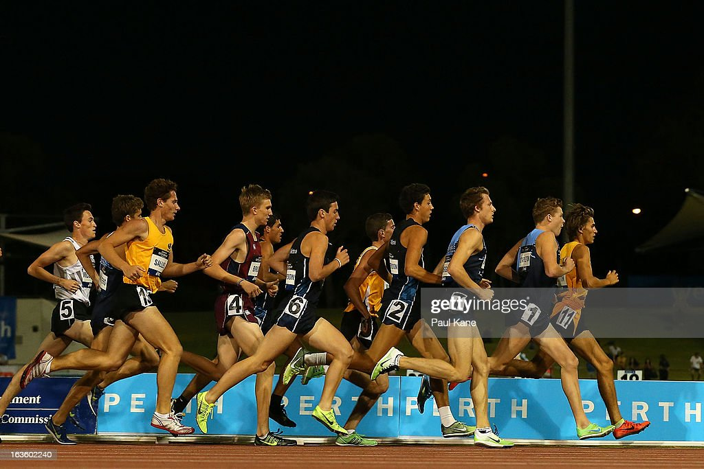 Competitors race in the men's u20 1500 metre race during day two of the Australian Junior Championships at the WA Athletics Stadium on March 13, 2013 in Perth, Australia.