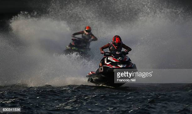 Competitors race in the Runabout GP1 final during the Aquabike Class Pro Circuit World Championships Grand Prix of Sharjah at Khalid Lagoon on...