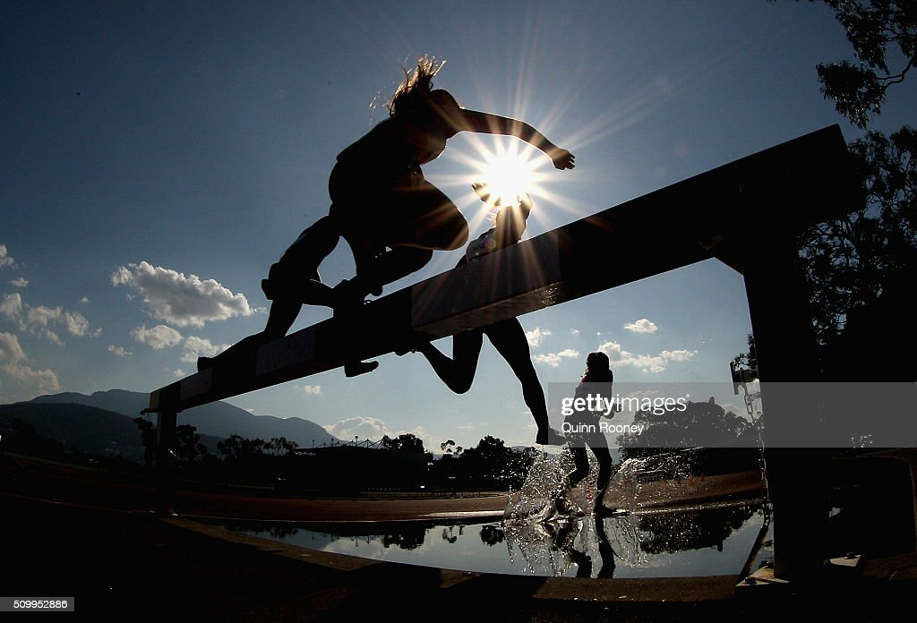 Competitors race in the Women's 2000 meter Steeplechase during the Briggs Athletics Classic on February 13, 2016 in Hobart, Australia.