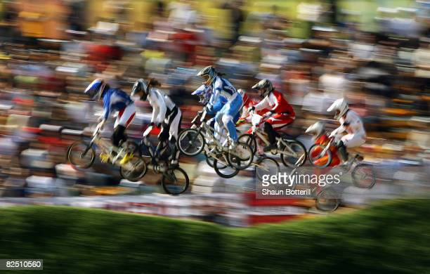 Competitor's race in the Women's BMX semifinal run held at the Laoshan Bicycle Moto Cross Venue during Day 14 of the Beijing 2008 Olympic Games on...